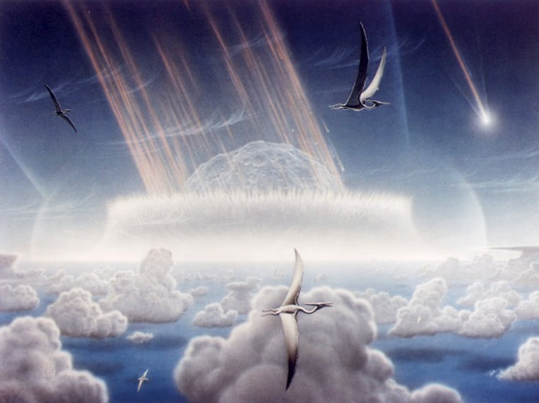 This artist's conception shows a massive asteroid slamming into Earth while pterosaurs fly by. Is this how the Chicxulub meteor impact looked 65 million years ago, or did some other event lead to the end of the dinosaur era?