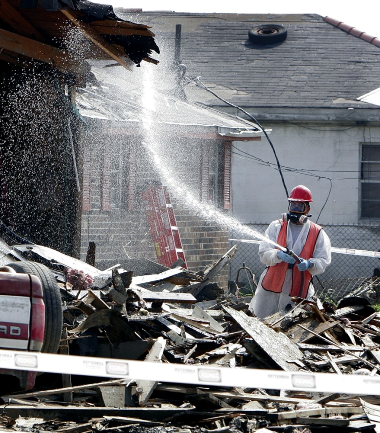 Ahome is demolished in the Lower Ninth Ward of New Orleans onMarch 6. The city may take upto 25 years to recover from Katrina, according to President Bush'srecovery coordinator.