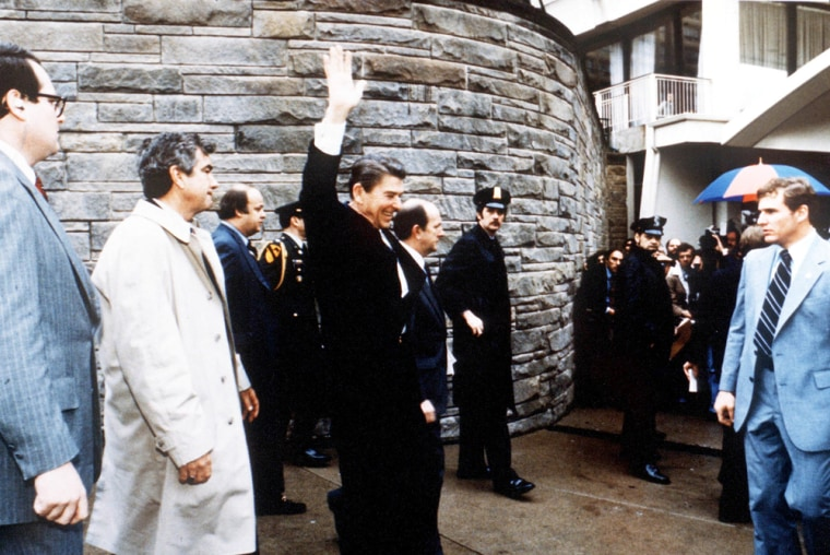 President Ronald Reagan Waves To Onlookers Moments Before An Assassination Attempt By Jo