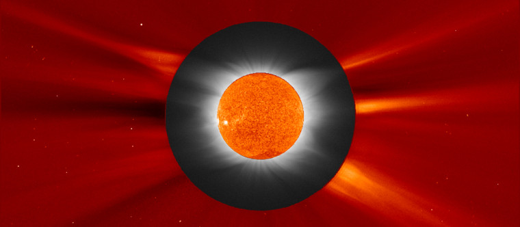 This image merges reddish views of the sun's disk and the outer part of the corona from the Solar and Heliospheric Observatory with a black-and-whitephotograph of the sun's inner corona, taken froma Greek island by the Williams College Eclipse Expedition. Merging the imagery lets astronomers trace features in the corona from their bases on the sun's surface up until the gas escapes into interplanetary space.