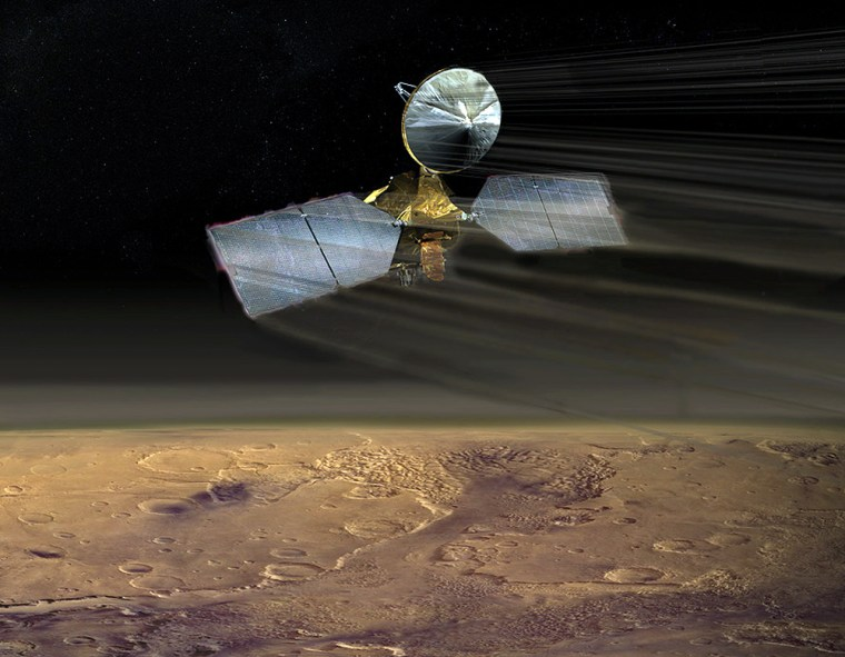 An artist's conception shows the Mars Reconnaissance Orbiter dipping through the Martian atmosphere during aerobraking.