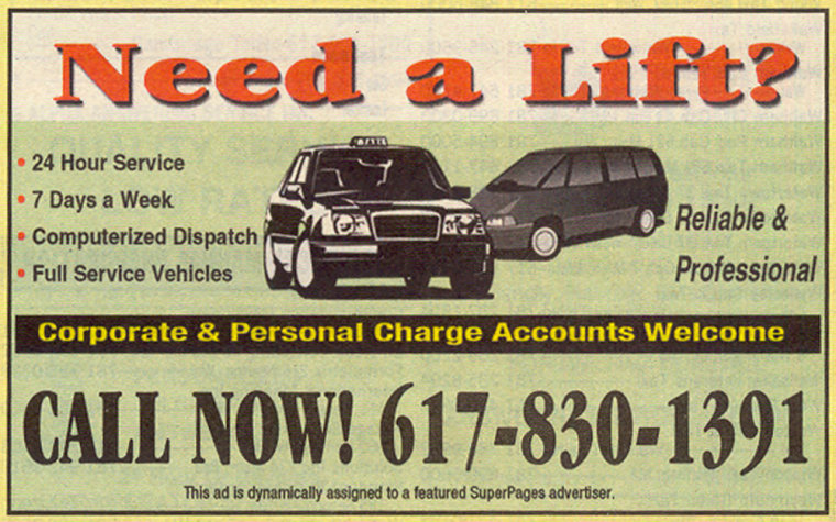 """Thisimage released by Verizon SuperPages shows an advertisement in the """"taxicab"""" category of the 2006 Boston area Verizon Yellow Pages."""