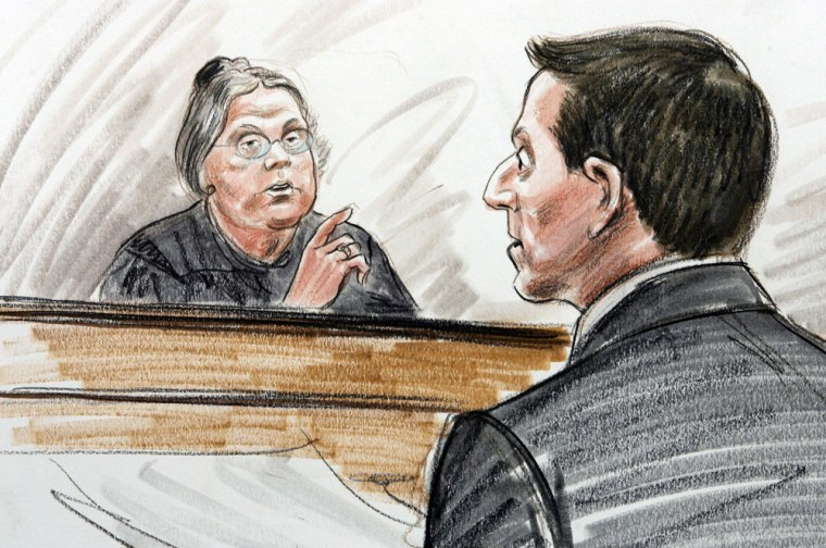 This courtroom drawing shows Judge Leoni