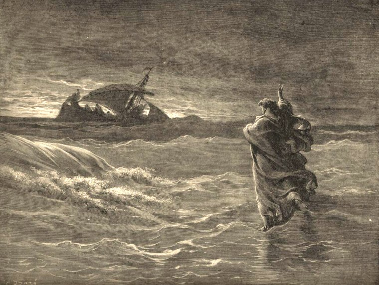 One of the best-known stories in the New Testament, related in Matthew 14 and in this Gustave Dore print, tells how Jesus walked on water. Now a scientist says rare patches of ice might have formed on theSea of Galilee's surfacein Jesus' day.