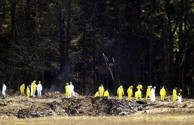 A LARGE GROUP OF INVESTIGATORS COMB THE UNITED AIRLINES FLIGHT 93 DEBRIS FIELD