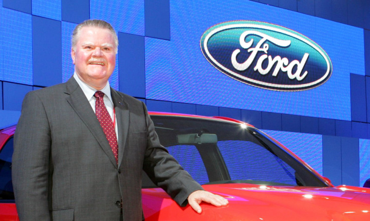 """Ford Motor CEO Padilla poses with company's concept car \""""Equator Concept\"""" in Chiba"""