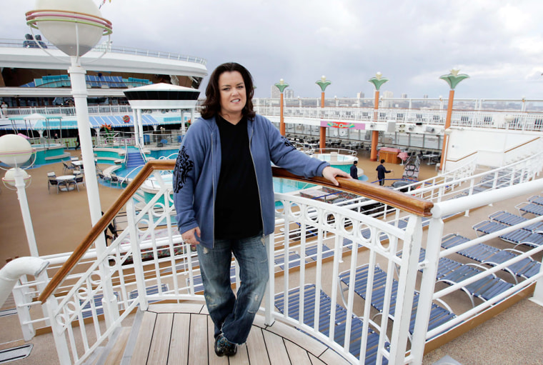 Comedienne O'Donnell stands on the deck of Norwegian Cruise Line's Norwegian Dawn in New York
