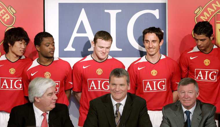 Manchester United players model the clubs new shirt at Old Trafford in Manchester