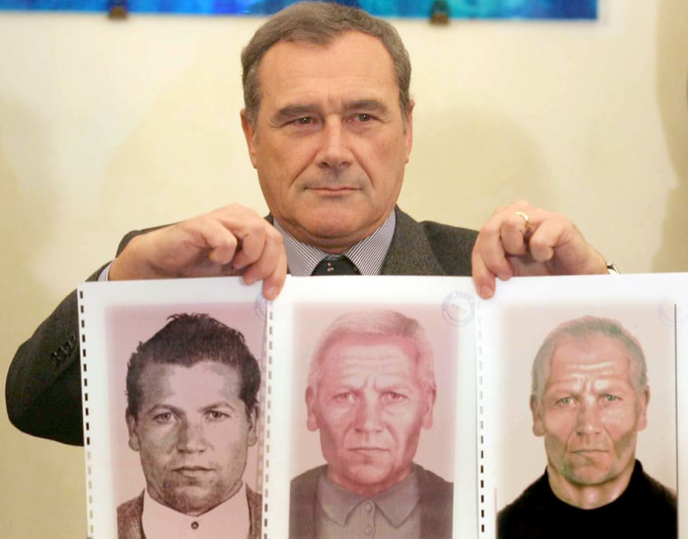 Palermo's prosecutor Grasso shows police mugshot and photofits of mafia boss Provenzano in Palermo