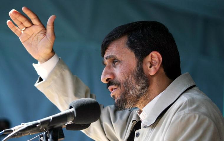 Iranian President Ahmadinejad speaks to people of Torbat e Jam in Iran