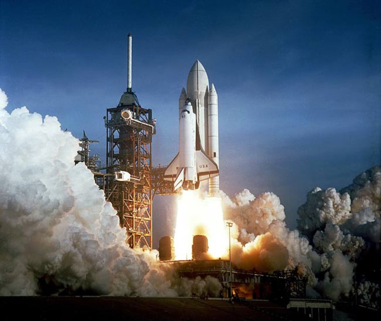 Columbia launches skyward on April 12, 1981 on NASA's first-ever shuttle flight, STS-1.