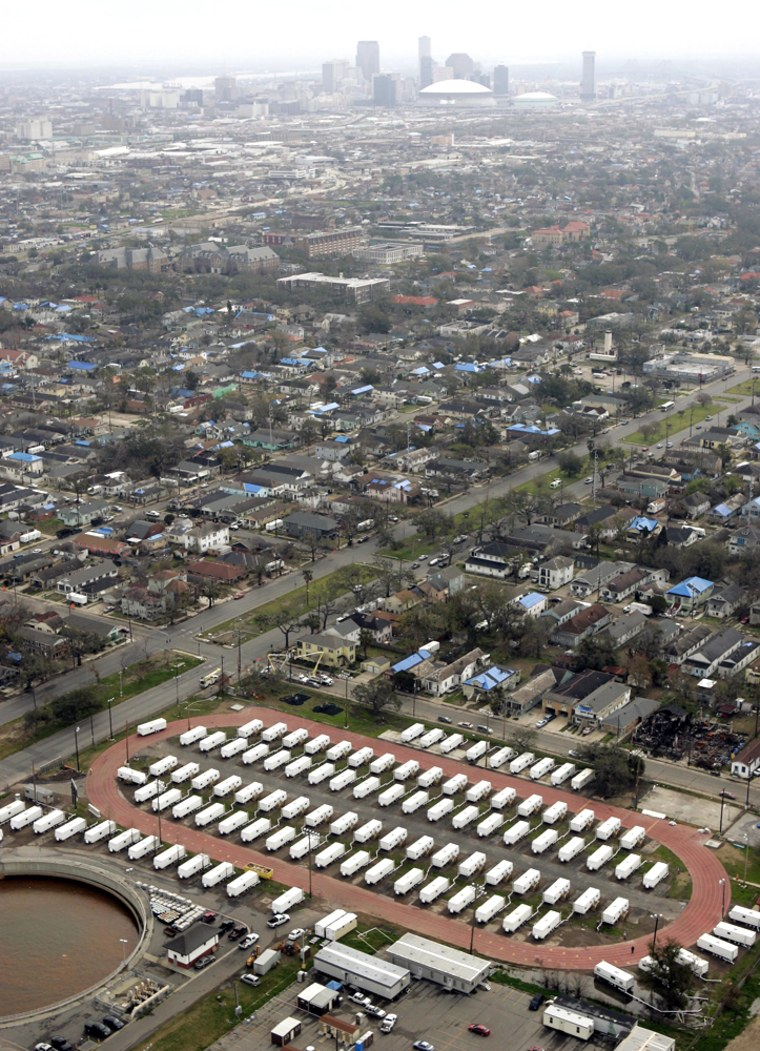 A FEMA trailer compound constructed near New Orleans isseen from above in this Feb. 23 file photo.