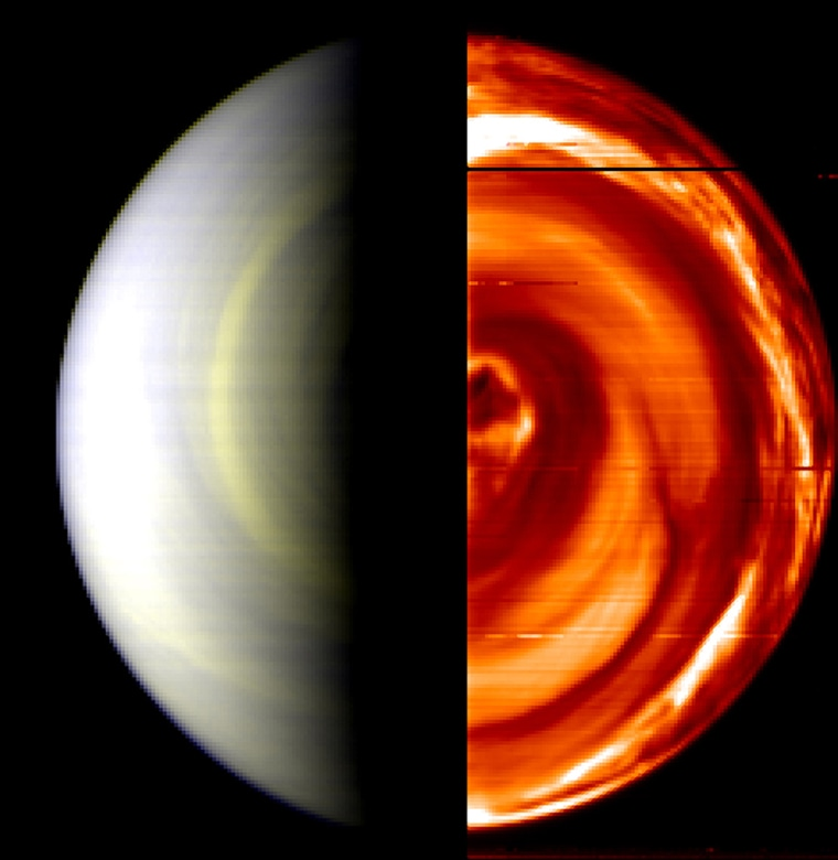 Composite false-colour view of Venus' south pole