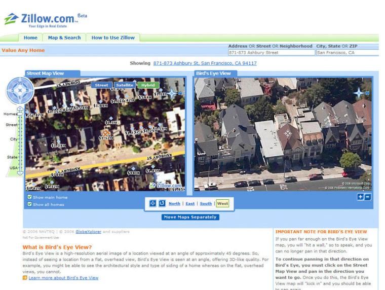 Handout photo of Zillow.com website