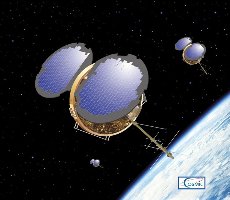Six microsatellites are entering low-Earth orbit to form Cosmic: the Constellation Observing System for Meteorology, Ionosphere and Climate. Data from the satellites areexpected to improve weather forecasts, climate monitoring and space weather reports.