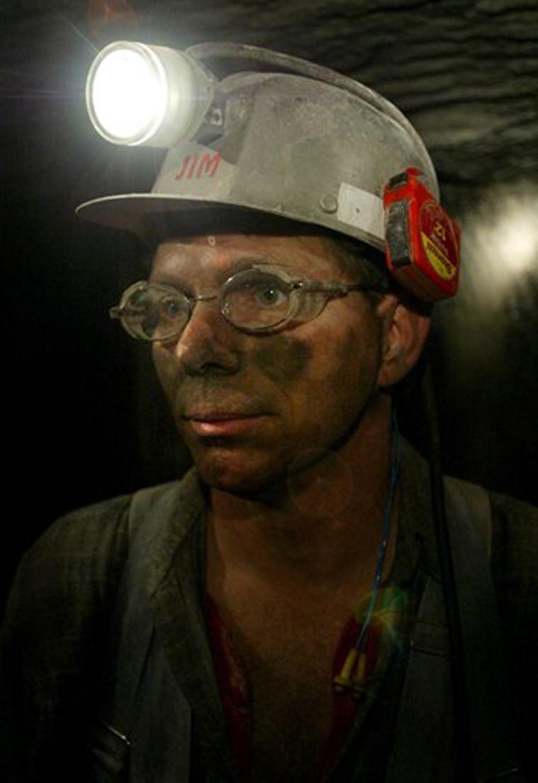 Jimmy Allender, CAM Ohio coal crew leader, looks inside the Hopedale Mine near Cadiz, Ohio.