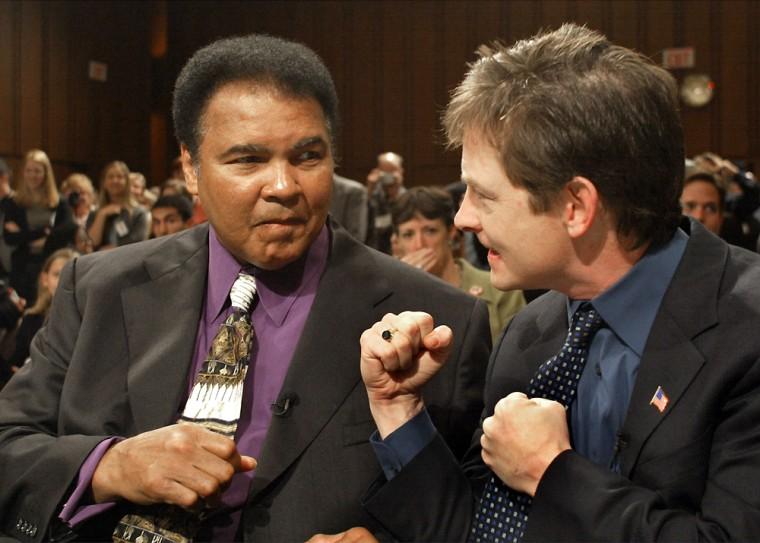 Michael J. Fox and Muhammad Ali on Capitol Hill