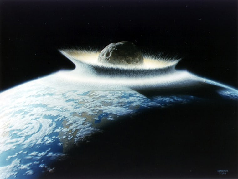 An artist's conception shows a giant meteorite slamming into Earth during an earlier era of the planet's existence.