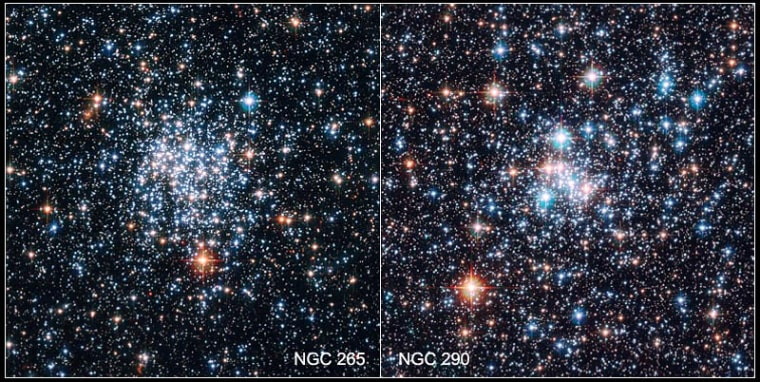 These images from the Hubble Space Telescope provide our best views yet of the star clusters known as NGC 265 (left) and NGC 290 (right).