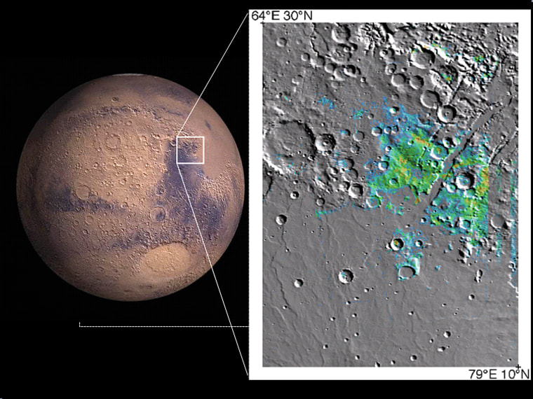 A region rich in clay minerals is highlighted by a white box on the hemispheric view of Mars, and detailed in the map on the right. The map shows the presence of water-bearing clay minerals identified by OMEGA data in the Syrtis Major region, where blue indicates small amounts and orange-red indicates large amounts.