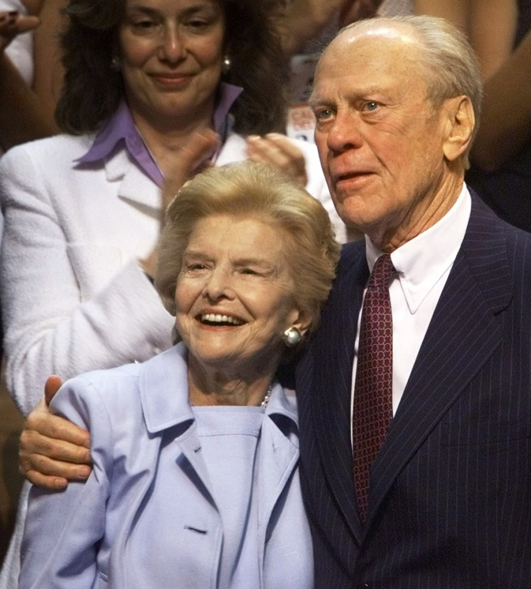 File photo of former US president Ford and his wife Betty standing in Philadelphia