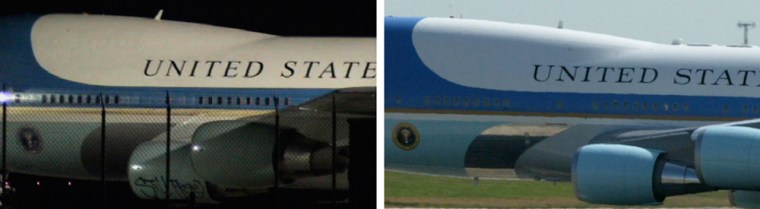 """The picture at left is from the hoax Internet video and shows the words """"Still Free"""" written on a 747 jet painted to look like the real Air Force One, which is seen at right at Andrews Air Force earlier this week."""