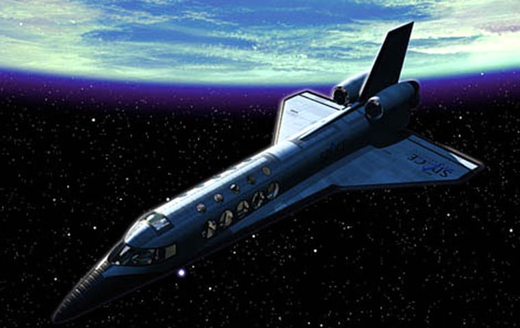 In an artist's conception, a private suborbital spaceship soars against the backdrop of a curving Earth and the black sky of space.