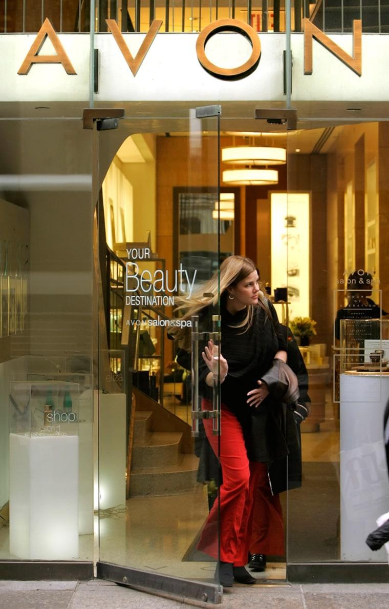 A woman exits an Avon store inNew York.