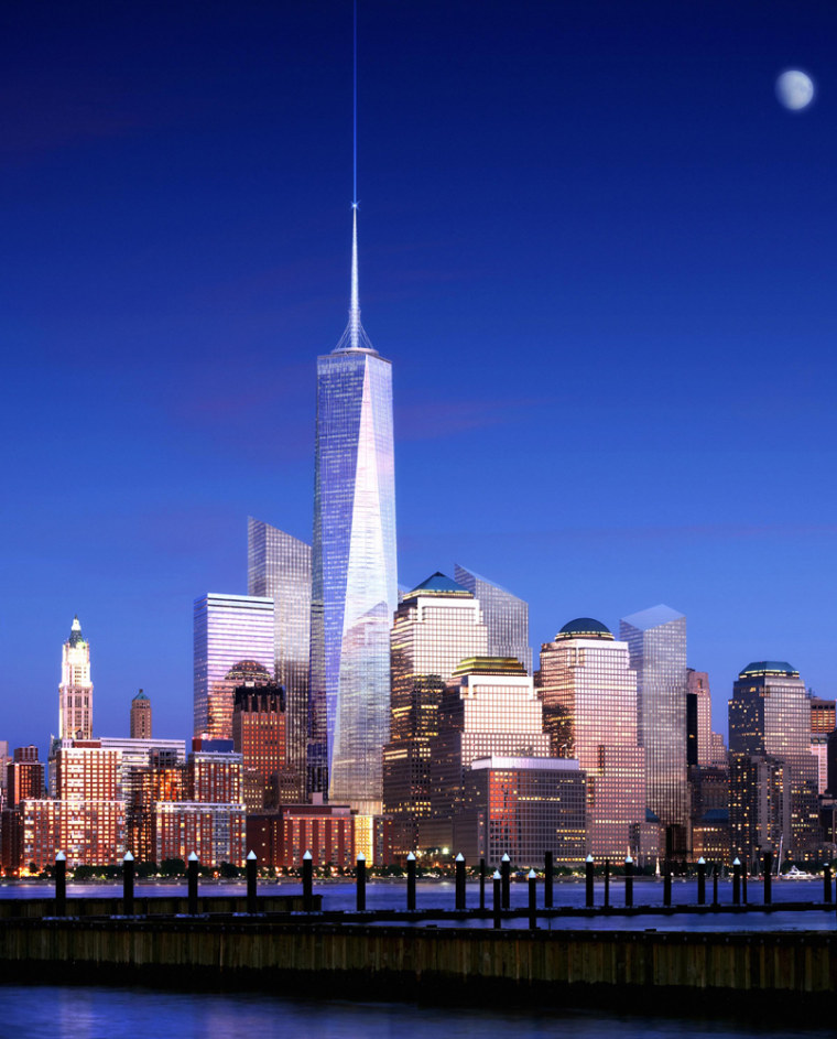 The redesigned Freedom Tower by architect Skidmore, Owings & Merrill LLP rises above the lower Manhattan skyline in a computer generated rendering.