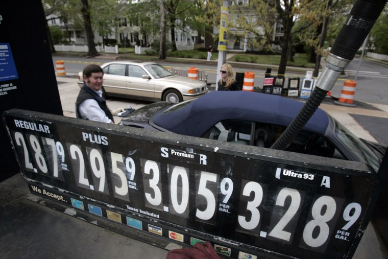 Gas prices range from $2.87 for regular to $3.28 for ultra at a gas station in Princeton, N.J., on Sunday.