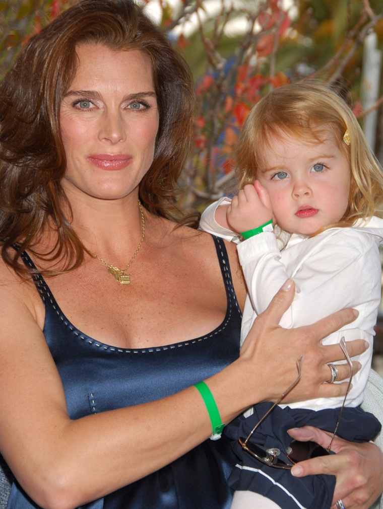 """Brooke Shields chronicled herexperience with postpartum depression after the birth ofher first daughter, Rowan, in the book """"Down Came the Rain."""""""