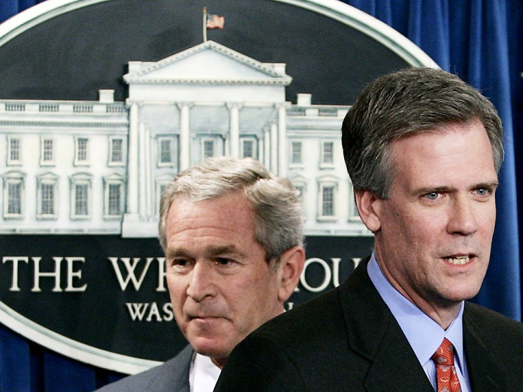 Newly named White House Press Secretary Tony Snow speaks after being introduced in the briefing room in Washington