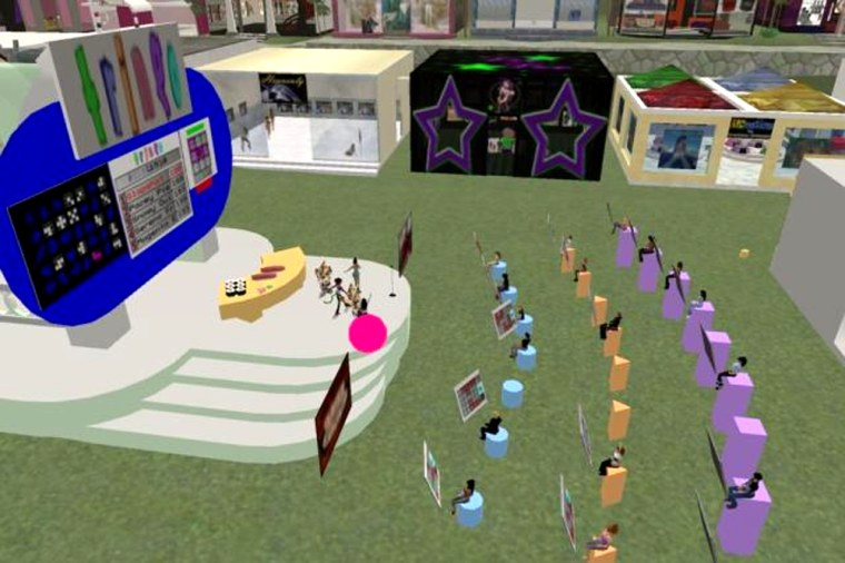 """""""Tringo"""" began as a game that people in the virtual world of """"Second Life"""" could play. It quickly took off and people set up Tringo arenas to play it in groups, as seen here in this undatedhandout image."""