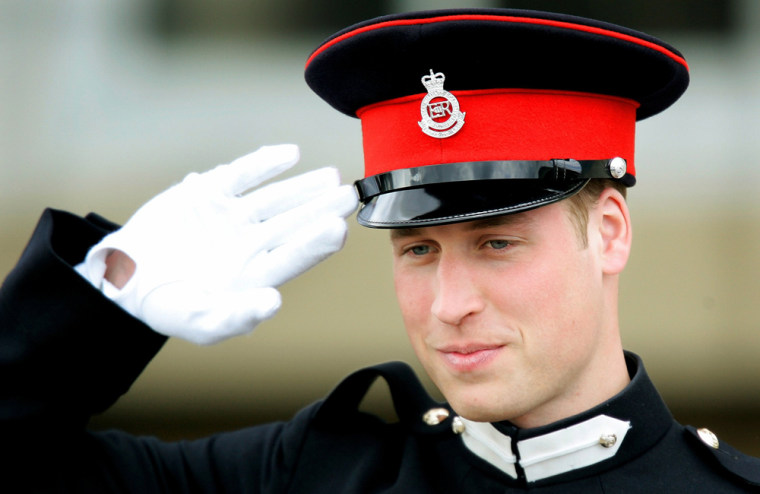 Britain's Prince William salutes after the Sovereign's Parade at the Royal Military Academy in Sandhurst