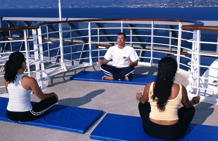 Passengers take part in a yoga class aboard a Celebrity Cruise Lines ship. In the latest of trends in the industry, ships are offering specialized activities and classes for every possible interest.