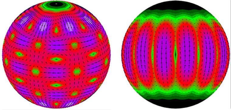 This computer-generated graphic shows the surface patterns for different twisting motions on the surface of a highly magnetic neutron star that might have been triggered bya hyperflare. The colors and arrow lengths indicate the magnitude and direction of the vibrations.