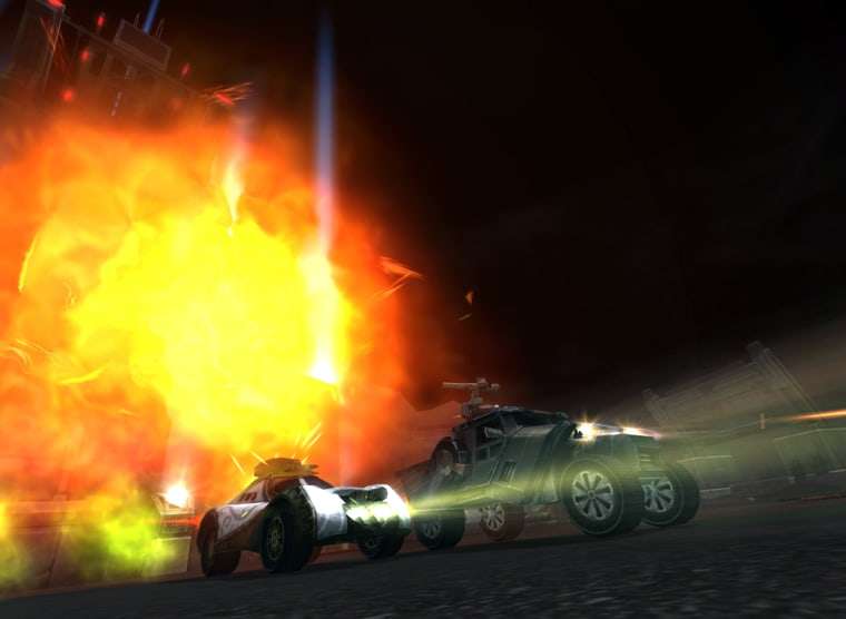"""""""Auto Assault"""" is a driving game wrapped around a role-playing game. When you """"die,"""" your wrecked vehicle gets airlifted to a repair station."""