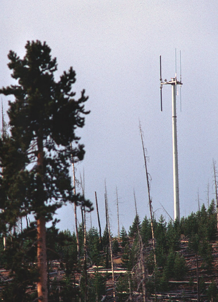 This cellular tower near the Old Faithful geyser is still controversial, five years after it was installed.