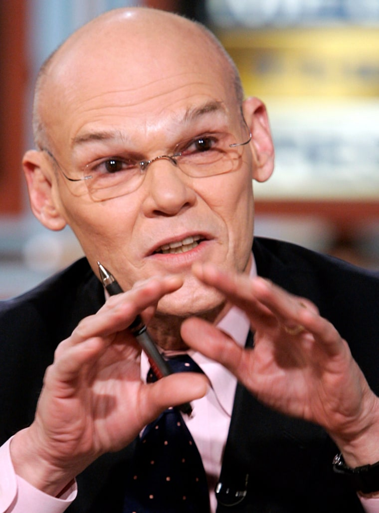 """Democratic strategist James Carville gestures as he speaks during a taping of """"Meet the Press"""" in Washington"""