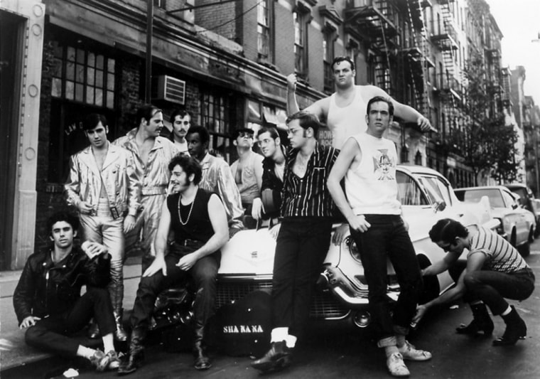 In this 1969 publicity photo supplied by Robert Leonard, a founding member of Sha Na Na, Leonard is shown standing, at right, with other members of the ...