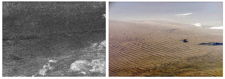 The photo at left is an image of the Belet sand sea on Titan, taken by the Cassini spacecraft last October. The photo at right is a view of the Namibian desert on Earth, takenfrom a NASA space shuttle.