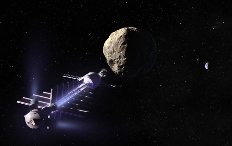 """In this artist's conception, a """"gravity tractor"""" positions itself near an asteroid to pull it away from a collision course with Earth (seen in the background)."""