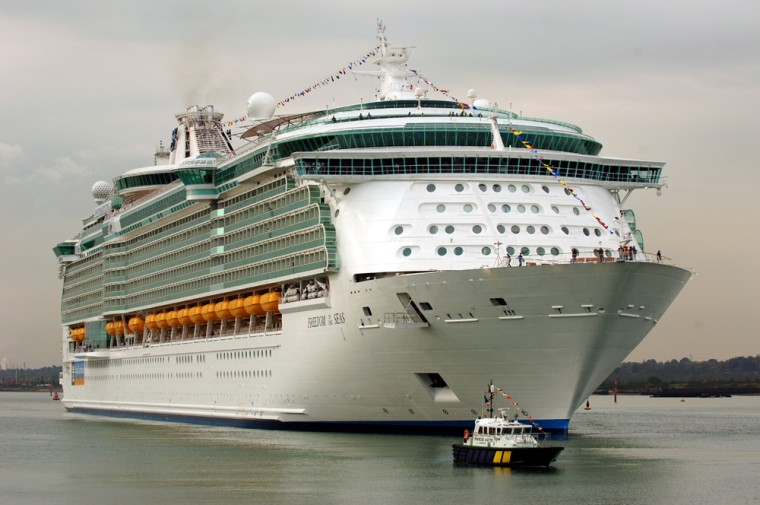 The newly built passenger cruise ship the Freedom Of The Seas is seen sailing near Southampton, England.