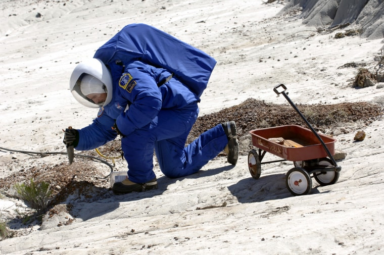 Fabio Sau tests an experimental space suit in the North Dakota badlandson May 6.