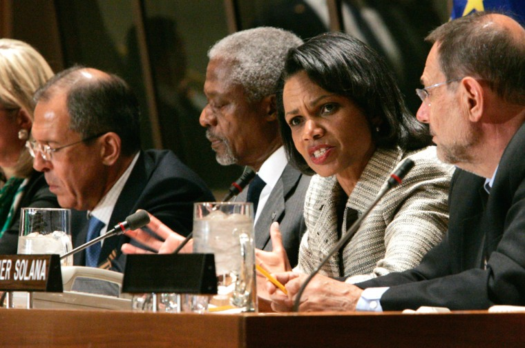 Russia's Foreign Minister Sergey Lavrov, left, U.N. Secretary-General Kofi Annan, second left, U.S. Secretary of State Condoleezza Rice, and European Union Secretary-General Javier Solana hold a news conference Tuesday at the United Nations.