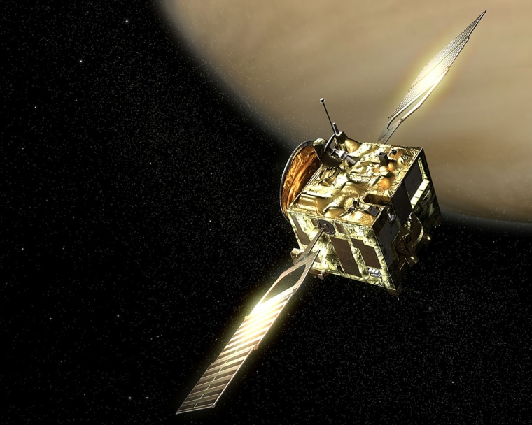 An artist's conception shows the European Space Agency's Venus Express orbiter circling the cloud-covered planet.