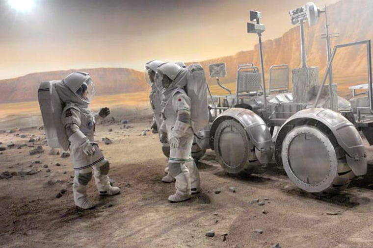 """The Discovery Channel's """"Race to Mars,"""" shown here during filming in Canada,tells the story of a Mars mission in a three-hour miniseries set to air inthe autumnof2007."""