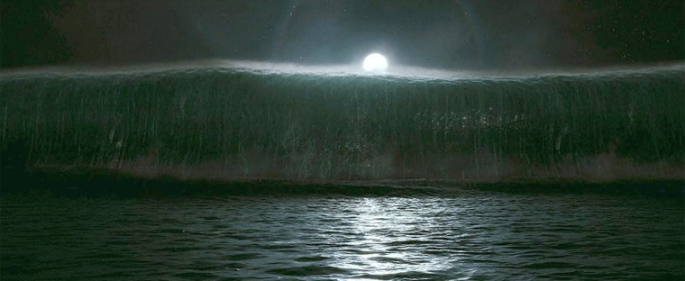 """A rogue wave bigger than any reliably recorded in real life approaches in a scene from the movie """"Poseidon."""""""