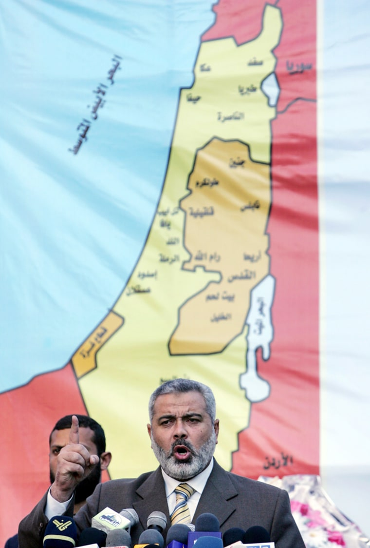 Palestinian PM Haniyeh speaks during a rally in Gaza