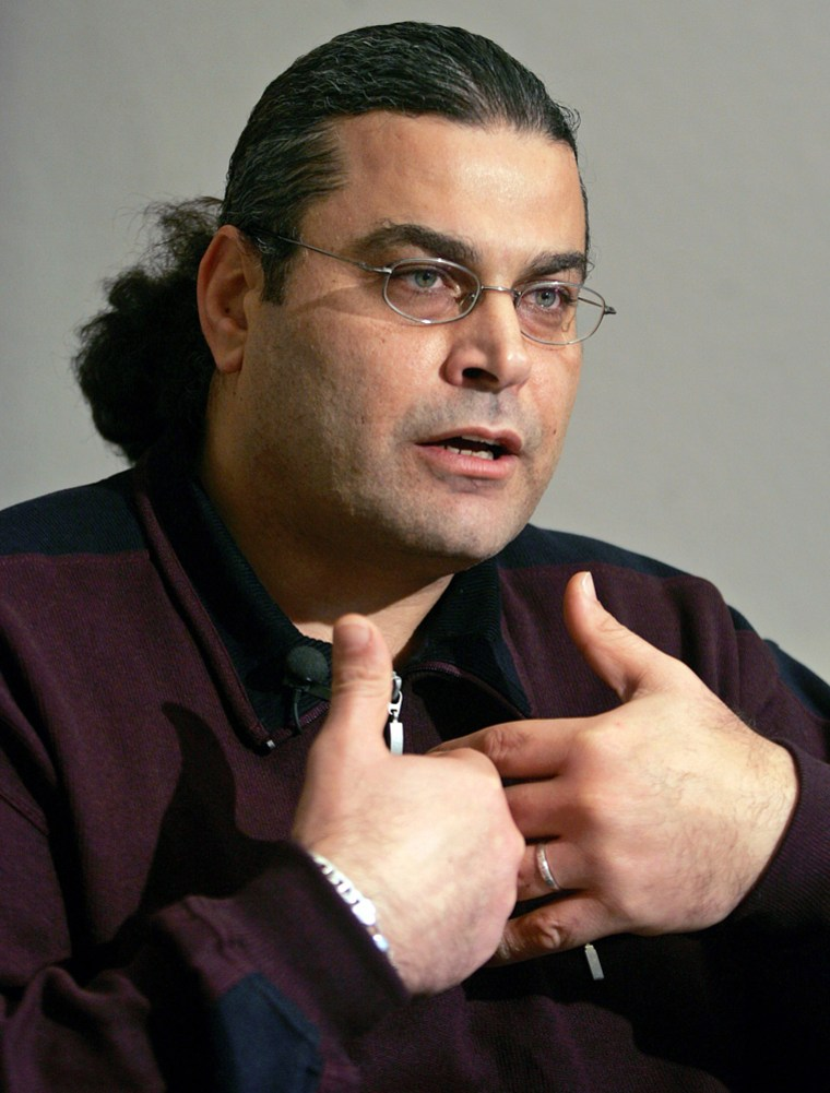 File photo of al-Masri, who was abducted to Afghanistan by the CIA for interrogation as a suspected terrorist, gesturing during interview in Ulm